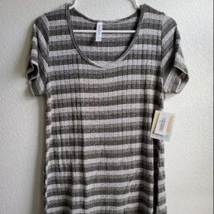 LuLaRoe Classic T Shirt Gray and White Stripe Sm